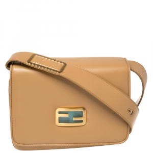 Fendi Beige Leather ID Crossbody Bag