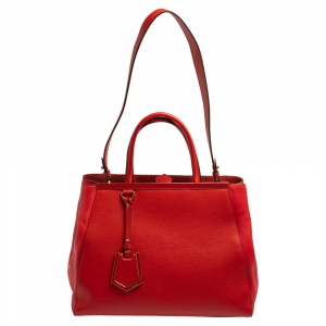 Fendi Red Leather Medium 2jours Tote
