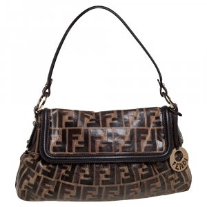 Fendi Brown Zucca Embossed Leather Chef Shoulder Bag
