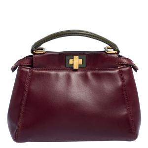 Fendi Burgundy/Olive Green Leather Mini Peekaboo Top Handle Bag