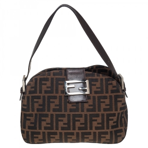 Fendi tobacco Zucca Logo Flap Baguette Shoulder Bag
