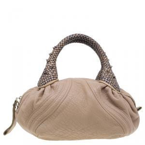 Fendi Beige Nappa Leather Baby Spy Bag