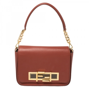 Fendi Brick Red Leather 3 Baguette
