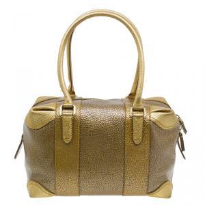 Fendi Gold Pebbled Leather Media Boston Bag