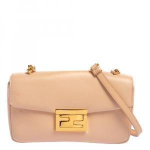 Fendi Pink Leather Mini Be Baguette Crossbody Bag
