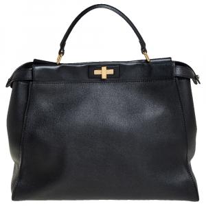 حقيبة يد علوية فندي بيكابوو جلد أسود كبيرة