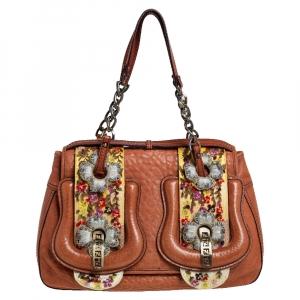 Fendi Brown Leather Floral Embroidered Limited Edition B Shoulder Bag