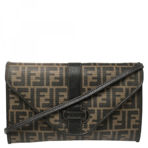 Fendi Tobacco Zucca Coated Canvas and Leather Vintage Envelope Flap Shoulder Bag