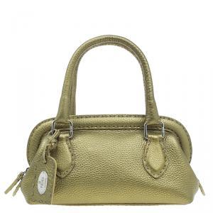 Fendi Gold Selleria Leather Small Satchel Bag