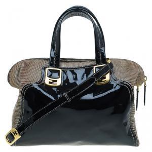 Fendi Black Patent Leather and Canvas Small Chameleon Satchel