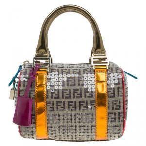 Fendi Multicolor Zucchino Canvas Mini Sequins Forever Bauletto Boston Bag