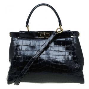 Fendi Black Crocodile Medium Peekaboo Top Handle Bag