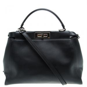 Fendi Black Leather Medium Peekaboo Top Handle Bag