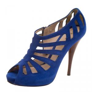 Fendi Cobalt Blue Suede Cut Out Booties Size 37 - used