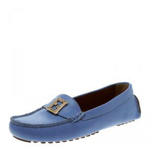 Fendi Sky Blue Saffiano Leather Logo Loafers Size 38.5