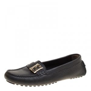 Fendi Black Leather Logo Loafers Size 38