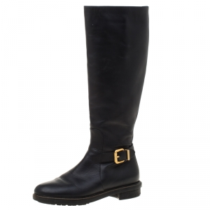 Fendi Black Leather Buckle Detail Knee Length Boots Size 37 - used