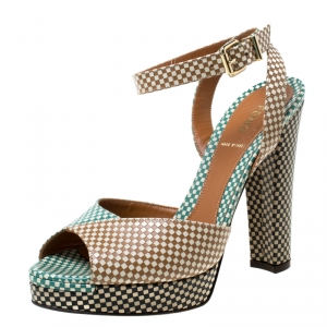 Fendi Multicolor Checkerboard Leather Ankle Strap Peep Toe Sandals Size 39 - used