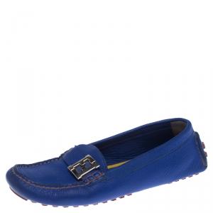 Fendi Blue Leather Logo Slip On Loafers Size 38.5