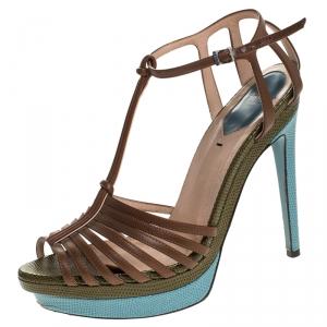 Fendi Brown Leather T Strap Platform Sandals Size 38 - used