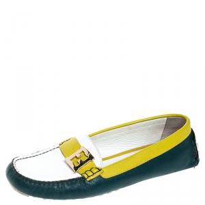 Fendi Tri Color Saffiano Leather Logo Slip On Loafers Size 39.5