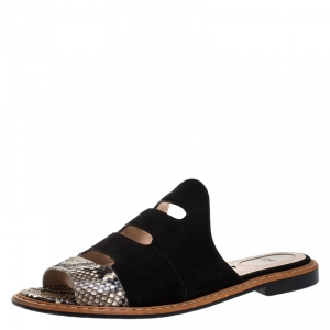 Fendi Black Suede And Python Cut Out Flat Slides Size 40 - used
