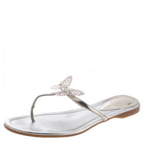 Fendi Metallic Silver Leather Butterfly Embellished Thong Sandals Size 38.5 - used