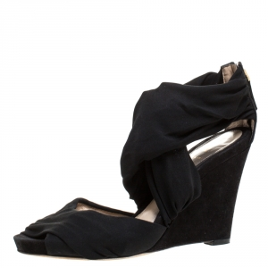 Fendi Black Stretch Fabric And Suede Cross Strap Sandals Size 40 - used