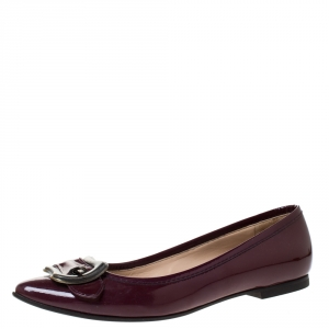 Fendi Maroon Patent Leather Buckle Detail Pointed Toe Ballet Flats Size 39.5 - used