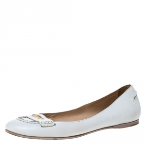 Fendi White Leather Logo Plaque Loafer Ballet Flats Size 40 - used