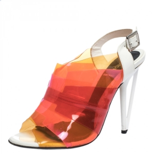 Fendi Multicolor PVC And White Patent Slingback Sandals Size 38 - used
