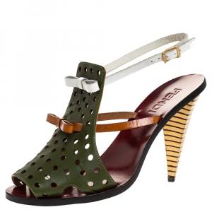 Fendi Multicolor Leather Hole Cutout Bow Slingback Sandals Size 37 - used