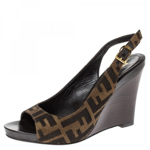 Fendi Brown FF Canvas Wedge Open Toe Slingback Sandals Size 36 - used