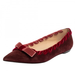 Fendi Burgundy Suede And Velvet Ribbon Stitch And Bow Detail Pointed Toe Ballet Flats Size 37 - used