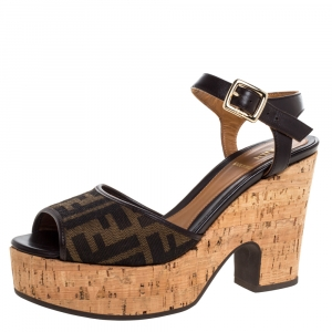 Fendi Tobacco Zucca Canvas and Leather Cork Wedge Platform Ankle Strap Sandals Size 36 - used