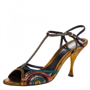 Fendi Multicolor Glitter Leather Ankle Strap Sandals Size 38.5 - used
