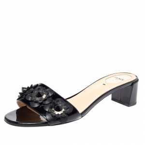 Fendi Black Leather Flowerland Open Toe Sandals Size 40 - used