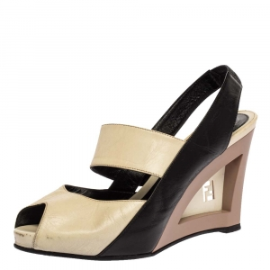 Fendi Tricolor Leather Cut-Out Logo Wedge Peep Toe Slingback Sandals Size 38.5 - used