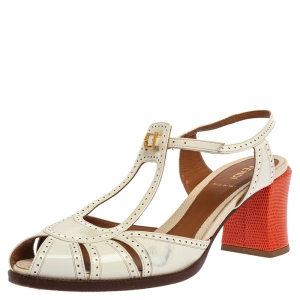 Fendi White Cut-Out Patent Leather And Orange Lizard Block Heel Peep Toe Sandals Size 41 - used
