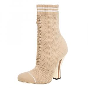 Fendi Beige Knit Fabric Rockoko Runway Openwork Ankle Boots Size 37 - used