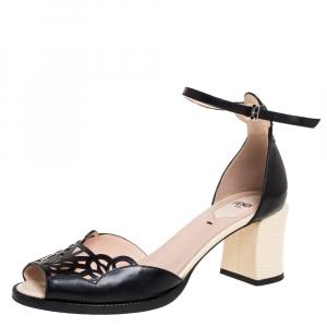 Fendi Black Leather Chameleon Block Heel Ankle Strap Sandals Size 39 - used