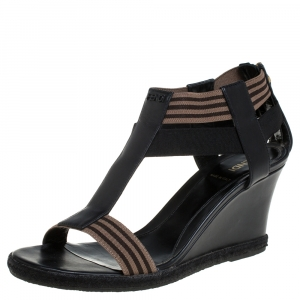 Fendi Black/Brown Leather And Elastic Fabric T-Strap Espadrille Wedge Sandals Size 38.5 - used