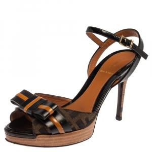Fendi Black/Brown Canvas And Leather Bow Pep Toe Ankle Strap Sandals Size 37.5