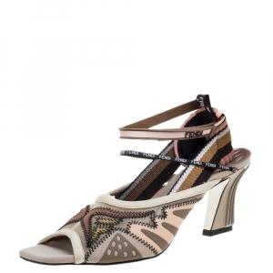 Fendi Multicolor Mesh and Fabric FFreedom Sandals Size 39.5