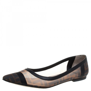 Fendi Brown/Black Zucca Mesh And Leather Trim Colibrì Pointed Toe Ballet Flats Size 39.5