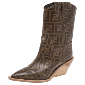 Fendi Brown FF Logo Coated Canvas Wooden Heel Ankle Boots Size 36