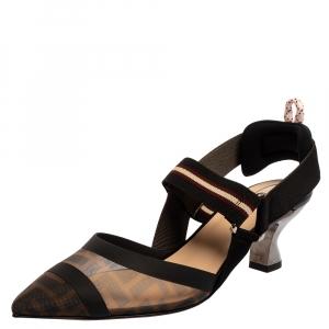 Fendi Black FF Motif Tech Mesh And Leather Trim Colibri Slingback Sandals Size 37.5
