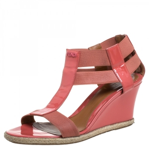Fendi Pink Patent Leather And Elastic Fabric Carioca Wedge Espadrille Sandals Size 38 - used