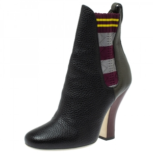 Fendi  Multi Color Knit And Leather Marie Antoinette Boots Size 38