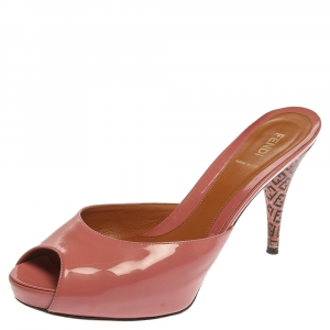 Fendi Coral Pink Patent Leather Peep Toe Slide Sandals Size 41